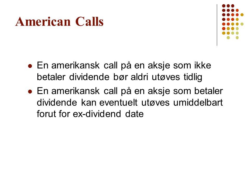 American Calls En amerikansk call på en aksje som ikke betaler dividende bør aldri utøves tidlig En amerikansk call på en aksje som betaler dividende