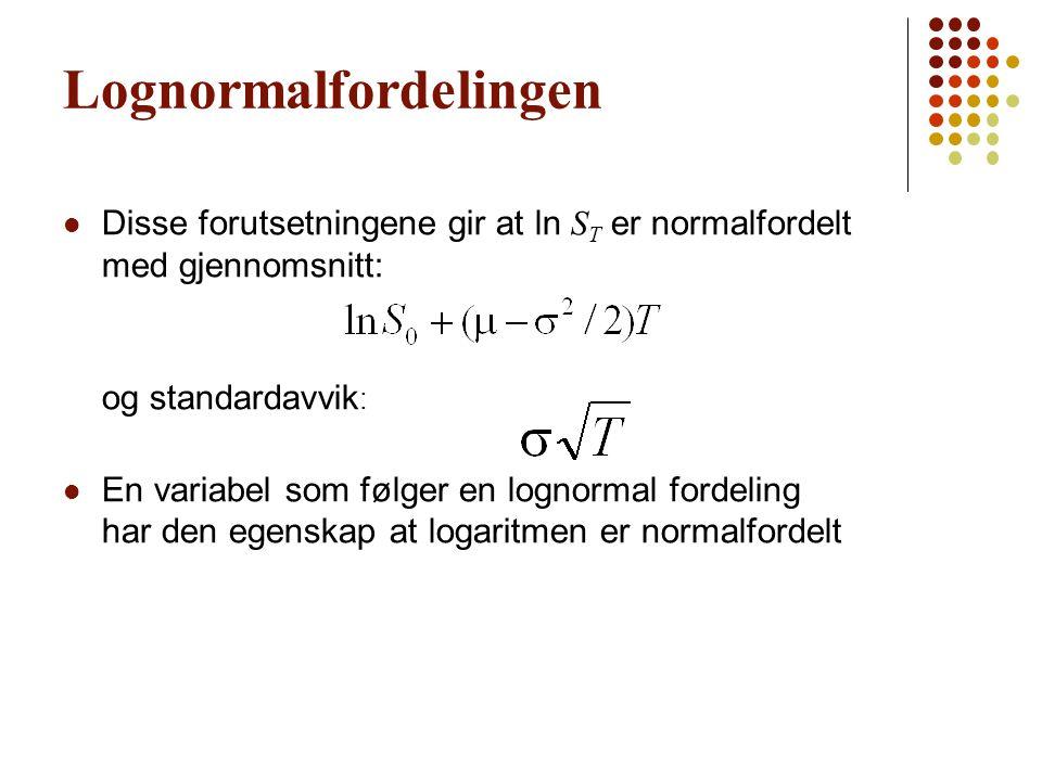 Lognormalfordelingen Disse forutsetningene gir at ln S T er normalfordelt med gjennomsnitt: og standardavvik : En variabel som følger en lognormal for