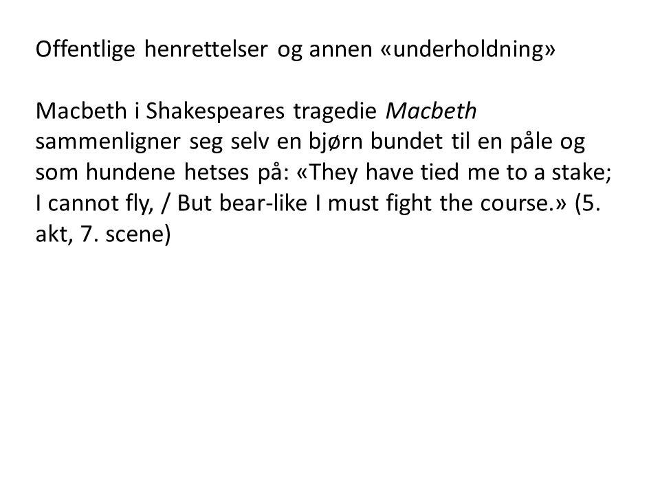 Offentlige henrettelser og annen «underholdning» Macbeth i Shakespeares tragedie Macbeth sammenligner seg selv en bjørn bundet til en påle og som hundene hetses på: «They have tied me to a stake; I cannot fly, / But bear-like I must fight the course.» (5.