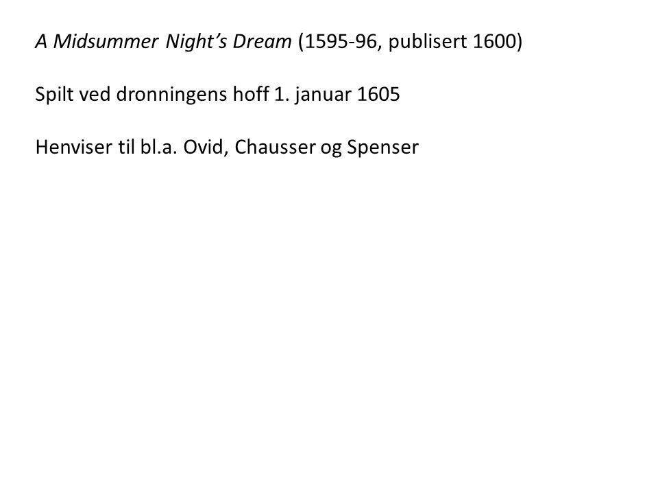 A Midsummer Night's Dream (1595-96, publisert 1600) Spilt ved dronningens hoff 1.