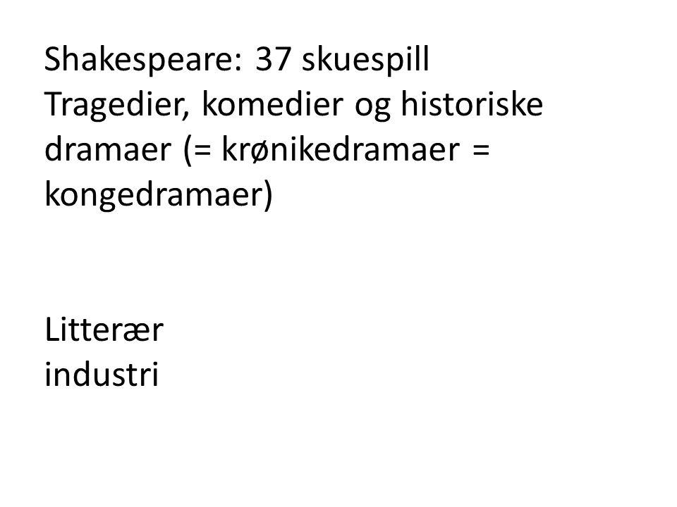 Shakespeare: 37 skuespill Tragedier, komedier og historiske dramaer (= krønikedramaer = kongedramaer) Litterær industri