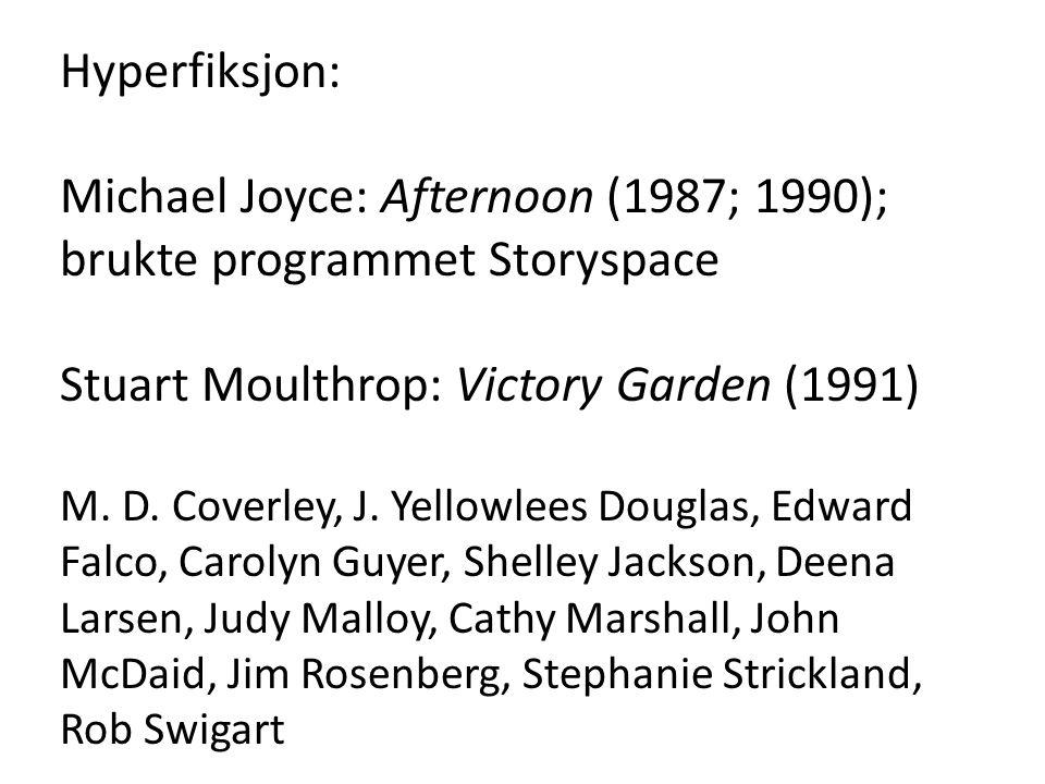 Hyperfiksjon: Michael Joyce: Afternoon (1987; 1990); brukte programmet Storyspace Stuart Moulthrop: Victory Garden (1991) M. D. Coverley, J. Yellowlee