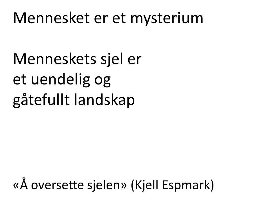Mennesket er et mysterium Menneskets sjel er et uendelig og gåtefullt landskap «Å oversette sjelen» (Kjell Espmark)