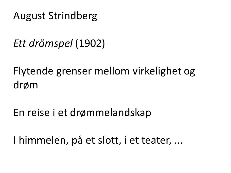August Strindberg Ett drömspel (1902) Flytende grenser mellom virkelighet og drøm En reise i et drømmelandskap I himmelen, på et slott, i et teater,..