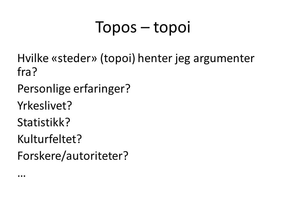 Topos – topoi Hvilke «steder» (topoi) henter jeg argumenter fra? Personlige erfaringer? Yrkeslivet? Statistikk? Kulturfeltet? Forskere/autoriteter? …