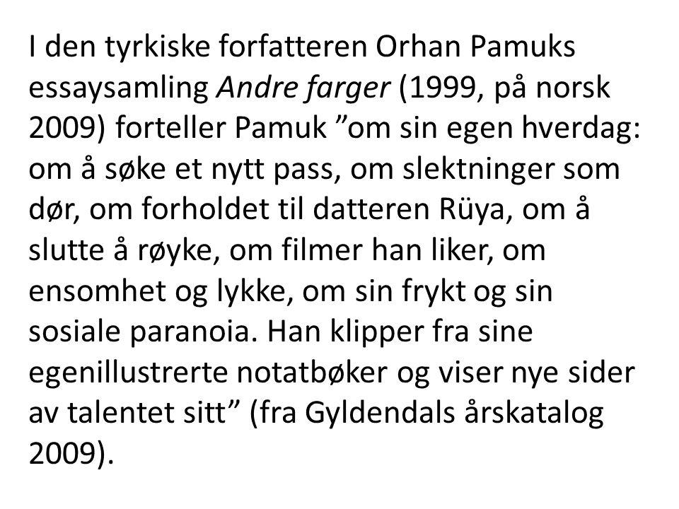 """I den tyrkiske forfatteren Orhan Pamuks essaysamling Andre farger (1999, på norsk 2009) forteller Pamuk """"om sin egen hverdag: om å søke et nytt pass,"""