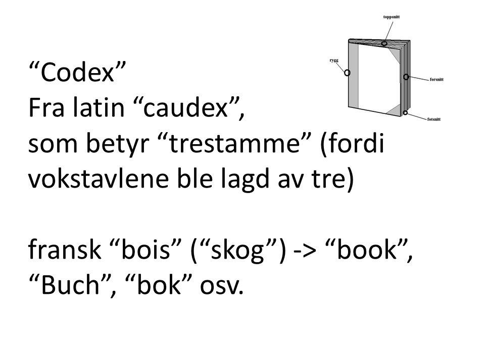 """""""Codex"""" Fra latin """"caudex"""", som betyr """"trestamme"""" (fordi vokstavlene ble lagd av tre) fransk """"bois"""" (""""skog"""") -> """"book"""", """"Buch"""", """"bok"""" osv."""