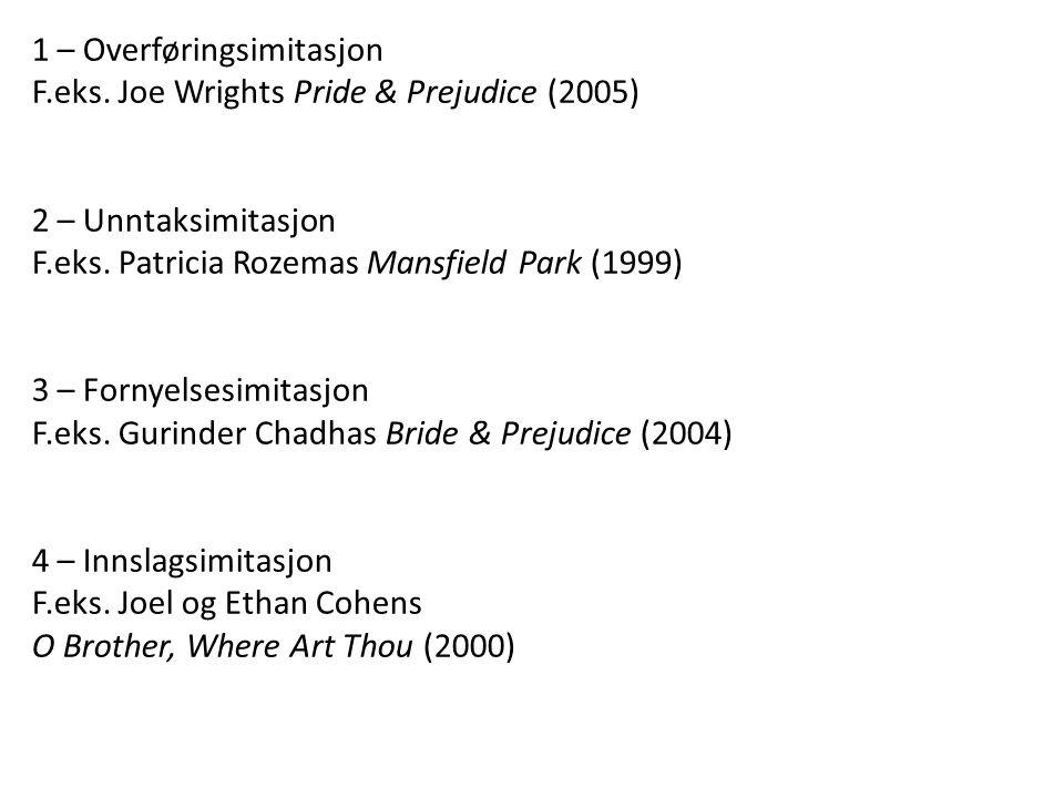 1 – Overføringsimitasjon F.eks. Joe Wrights Pride & Prejudice (2005) 2 – Unntaksimitasjon F.eks. Patricia Rozemas Mansfield Park (1999) 3 – Fornyelses