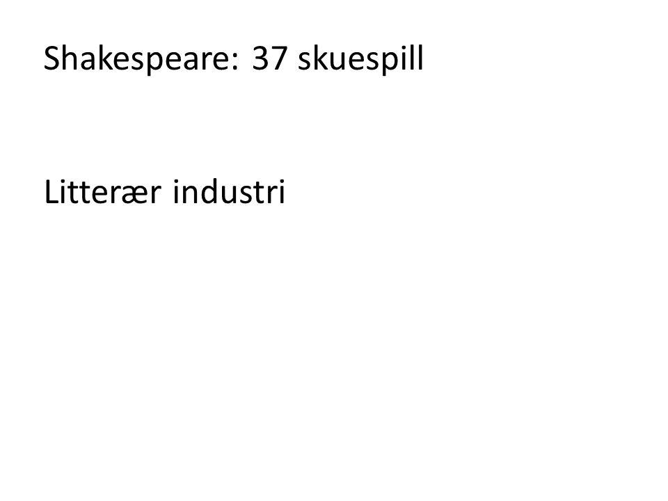 Shakespeare: 37 skuespill Litterær industri