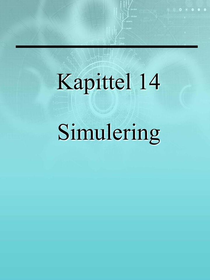 Læringsmål Kapittel 15 tar opp Hvordan en rekke problemer kan illustreres med simulering Arbeidsprosessen med simuleringer Fordeler og ulemper med simuleringer Bruk av tilfeldige tall for å simulere utfall Bruk av dataverktøy i simuleringen