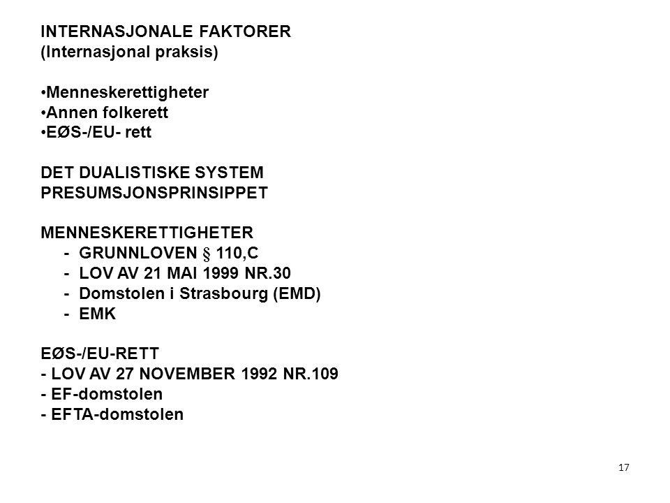 17 INTERNASJONALE FAKTORER (Internasjonal praksis) Menneskerettigheter Annen folkerett EØS-/EU- rett DET DUALISTISKE SYSTEM PRESUMSJONSPRINSIPPET MENN