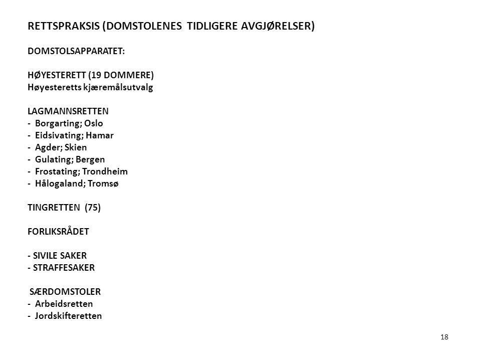 18 RETTSPRAKSIS (DOMSTOLENES TIDLIGERE AVGJØRELSER) DOMSTOLSAPPARATET: HØYESTERETT (19 DOMMERE) Høyesteretts kjæremålsutvalg LAGMANNSRETTEN - Borgarti