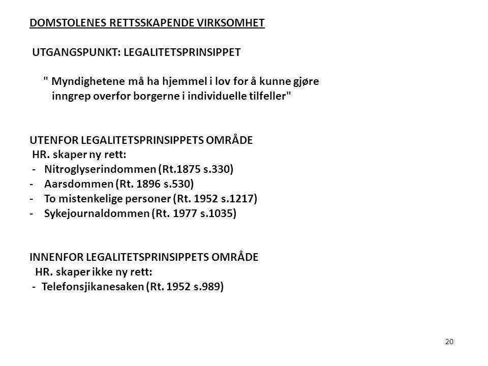 20 DOMSTOLENES RETTSSKAPENDE VIRKSOMHET UTGANGSPUNKT: LEGALITETSPRINSIPPET