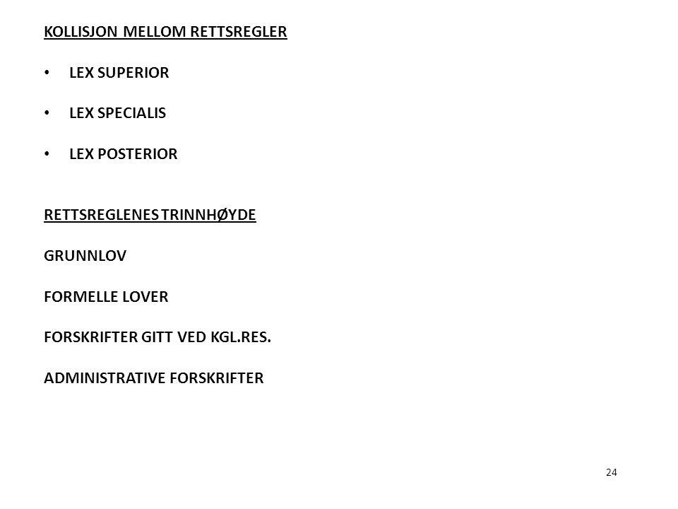 24 KOLLISJON MELLOM RETTSREGLER LEX SUPERIOR LEX SPECIALIS LEX POSTERIOR RETTSREGLENES TRINNHØYDE GRUNNLOV FORMELLE LOVER FORSKRIFTER GITT VED KGL.RES
