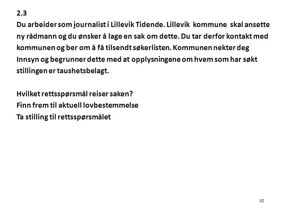 30 2.3 Du arbeider som journalist i Lillevik Tidende. Lillevik kommune skal ansette ny rådmann og du ønsker å lage en sak om dette. Du tar derfor kont