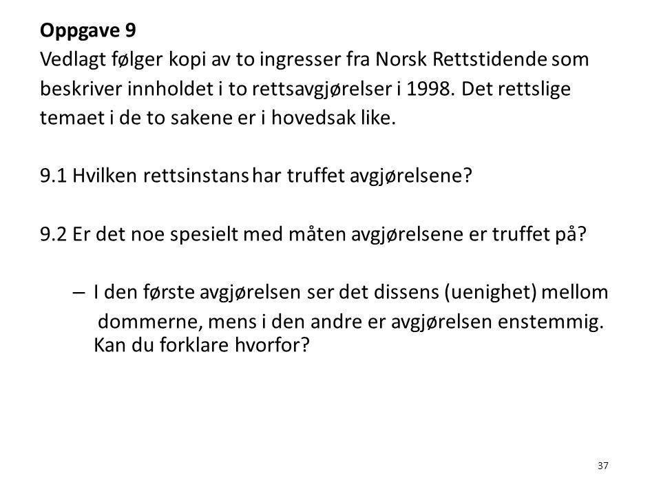 37 Oppgave 9 Vedlagt følger kopi av to ingresser fra Norsk Rettstidende som beskriver innholdet i to rettsavgjørelser i 1998. Det rettslige temaet i d