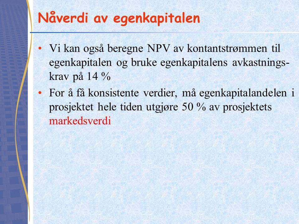Nåverdi av egenkapitalen Vi kan også beregne NPV av kontantstrømmen til egenkapitalen og bruke egenkapitalens avkastnings- krav på 14 % For å få konsistente verdier, må egenkapitalandelen i prosjektet hele tiden utgjøre 50 % av prosjektets markedsverdi