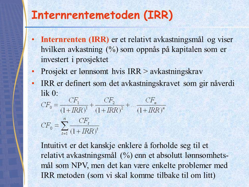 Internrentemetoden (IRR) Internrenten (IRR) er et relativt avkastningsmål og viser hvilken avkastning (%) som oppnås på kapitalen som er investert i p