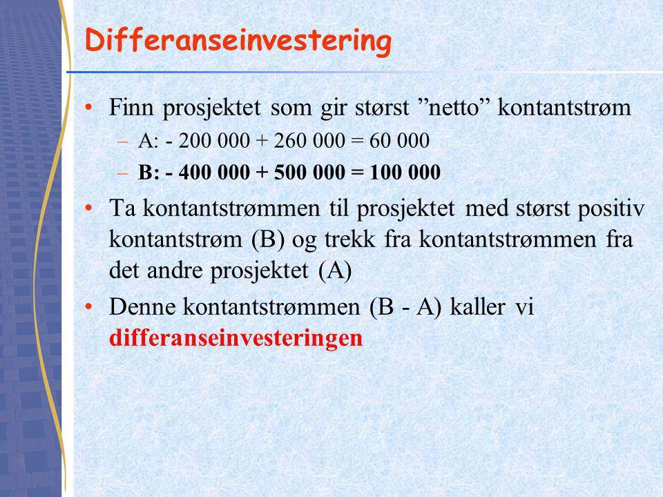 """Differanseinvestering Finn prosjektet som gir størst """"netto"""" kontantstrøm –A: - 200 000 + 260 000 = 60 000 –B: - 400 000 + 500 000 = 100 000 Ta kontan"""