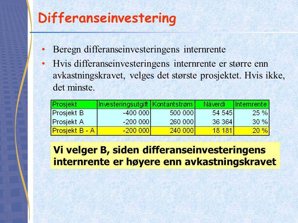 Differanseinvestering Beregn differanseinvesteringens internrente Hvis differanseinvesteringens internrente er større enn avkastningskravet, velges det største prosjektet.