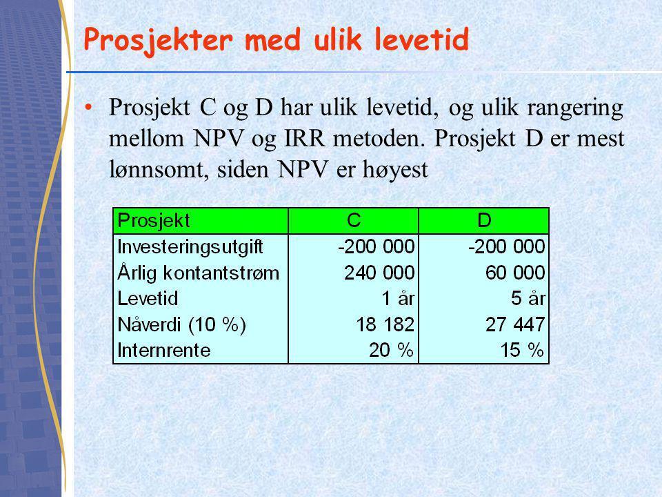 Prosjekter med ulik levetid Prosjekt C og D har ulik levetid, og ulik rangering mellom NPV og IRR metoden. Prosjekt D er mest lønnsomt, siden NPV er h