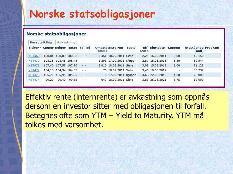 Norske statsobligasjoner Effektiv rente (internrente) er avkastning som oppnås dersom en investor sitter med obligasjonen til forfall. Betegnes ofte s