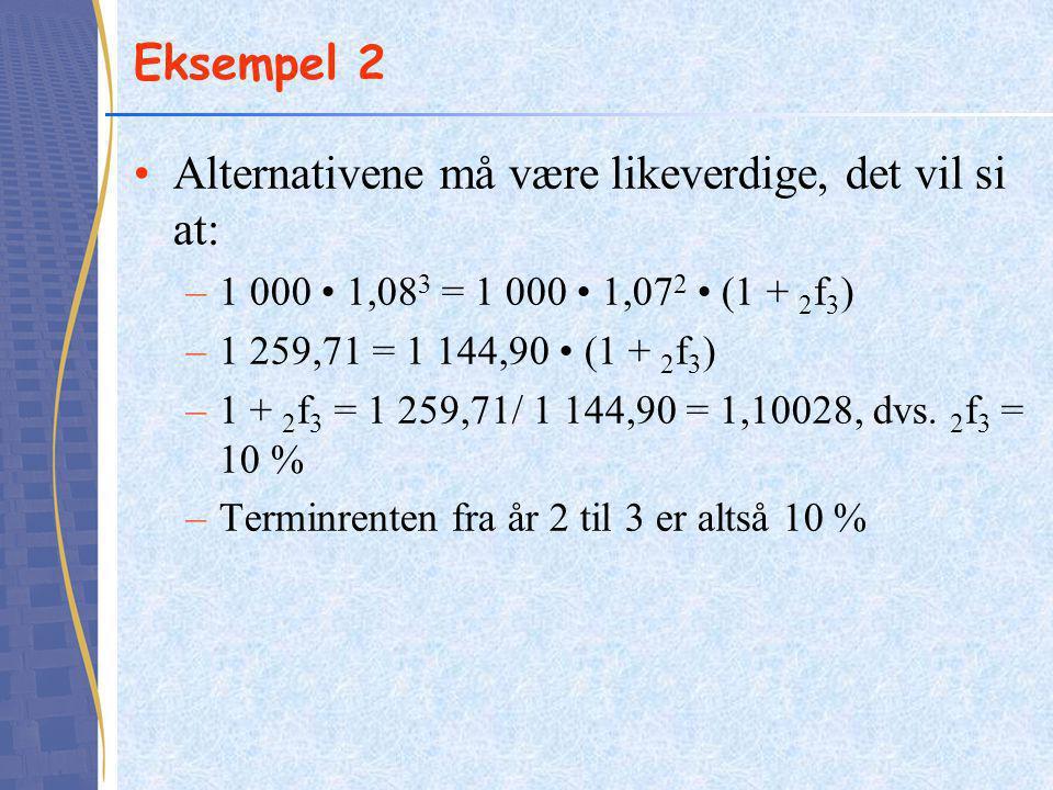 Eksempel 2 Alternativene må være likeverdige, det vil si at: –1 000 1,08 3 = 1 000 1,07 2 (1 + 2 f 3 ) –1 259,71 = 1 144,90 (1 + 2 f 3 ) –1 + 2 f 3 = 1 259,71/ 1 144,90 = 1,10028, dvs.