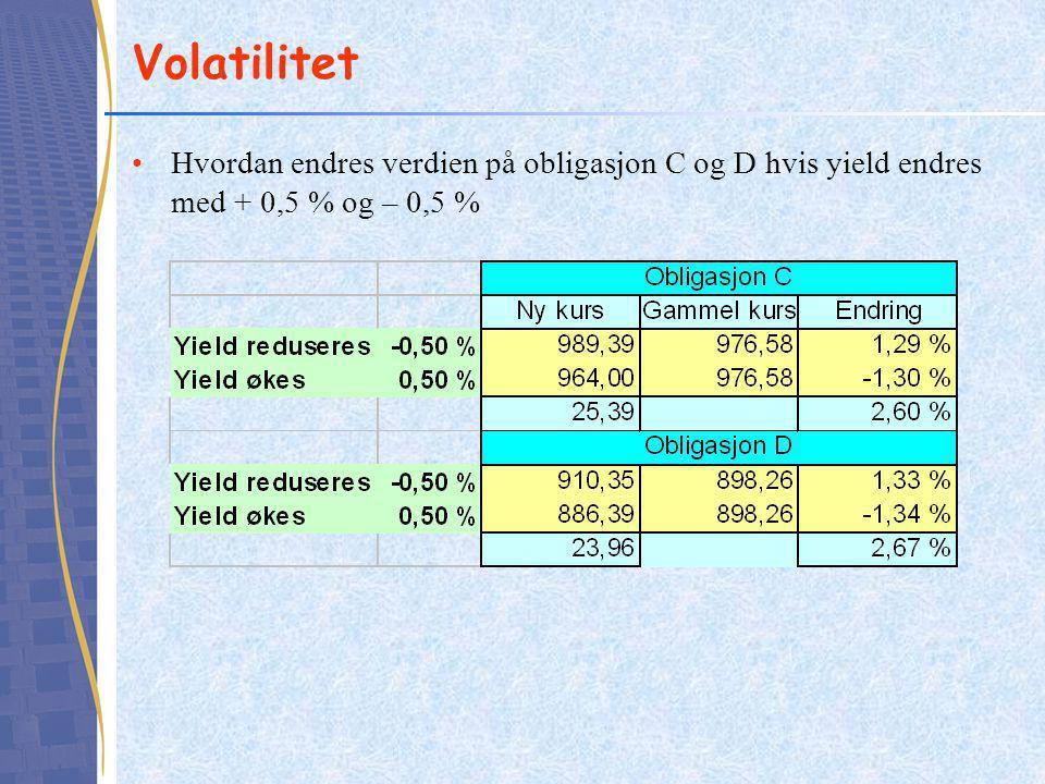 Volatilitet Hvordan endres verdien på obligasjon C og D hvis yield endres med + 0,5 % og – 0,5 %