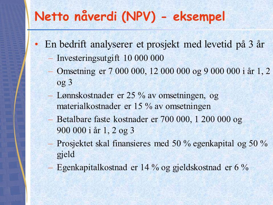 Netto nåverdi (NPV) - eksempel En bedrift analyserer et prosjekt med levetid på 3 år –Investeringsutgift 10 000 000 –Omsetning er 7 000 000, 12 000 000 og 9 000 000 i år 1, 2 og 3 –Lønnskostnader er 25 % av omsetningen, og materialkostnader er 15 % av omsetningen –Betalbare faste kostnader er 700 000, 1 200 000 og 900 000 i år 1, 2 og 3 –Prosjektet skal finansieres med 50 % egenkapital og 50 % gjeld –Egenkapitalkostnad er 14 % og gjeldskostnad er 6 %