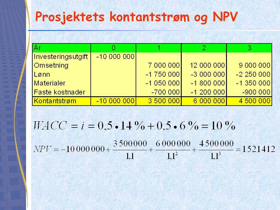 Differanseinvestering Finn prosjektet som gir størst netto kontantstrøm –A: - 200 000 + 260 000 = 60 000 –B: - 400 000 + 500 000 = 100 000 Ta kontantstrømmen til prosjektet med størst positiv kontantstrøm (B) og trekk fra kontantstrømmen fra det andre prosjektet (A) Denne kontantstrømmen (B - A) kaller vi differanseinvesteringen