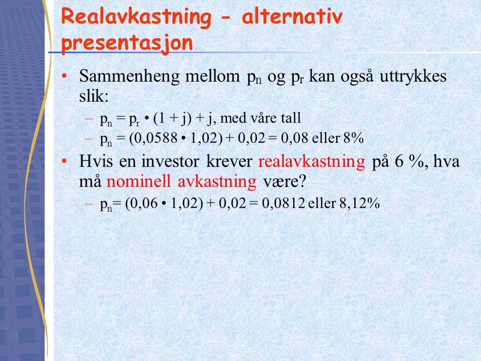 Realavkastning - alternativ presentasjon Sammenheng mellom p n og p r kan også uttrykkes slik: –p n = p r (1 + j) + j, med våre tall –p n = (0,0588 1,02) + 0,02 = 0,08 eller 8% Hvis en investor krever realavkastning på 6 %, hva må nominell avkastning være.