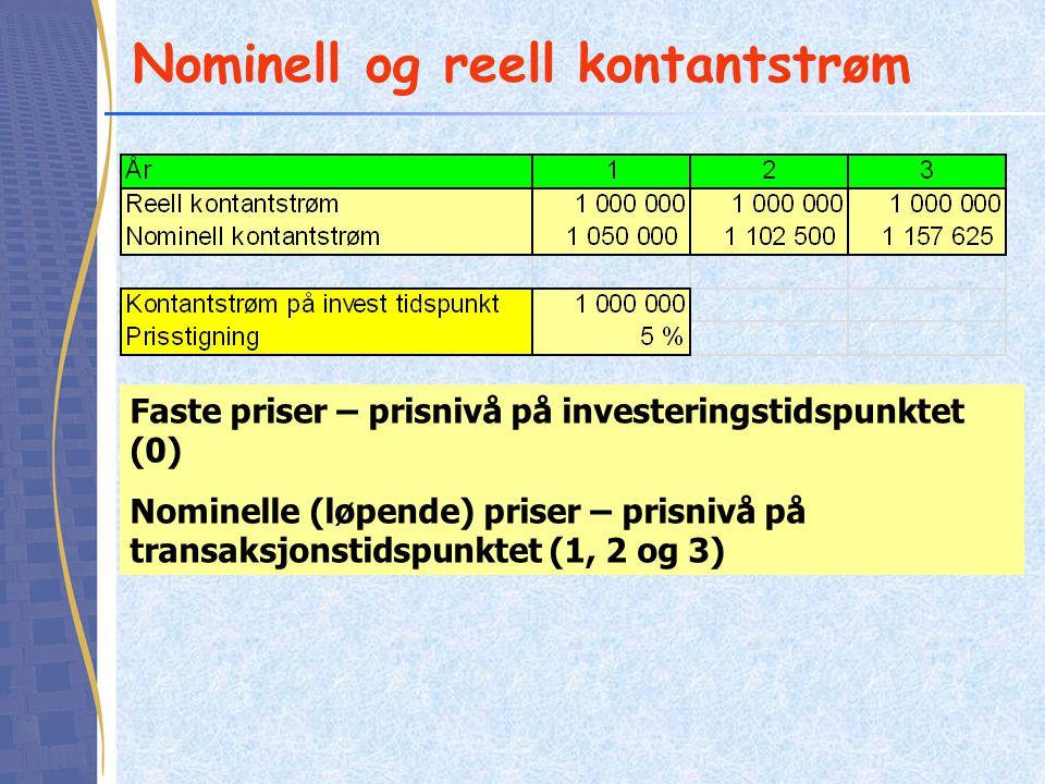 Nominell og reell kontantstrøm Faste priser – prisnivå på investeringstidspunktet (0) Nominelle (løpende) priser – prisnivå på transaksjonstidspunktet (1, 2 og 3)