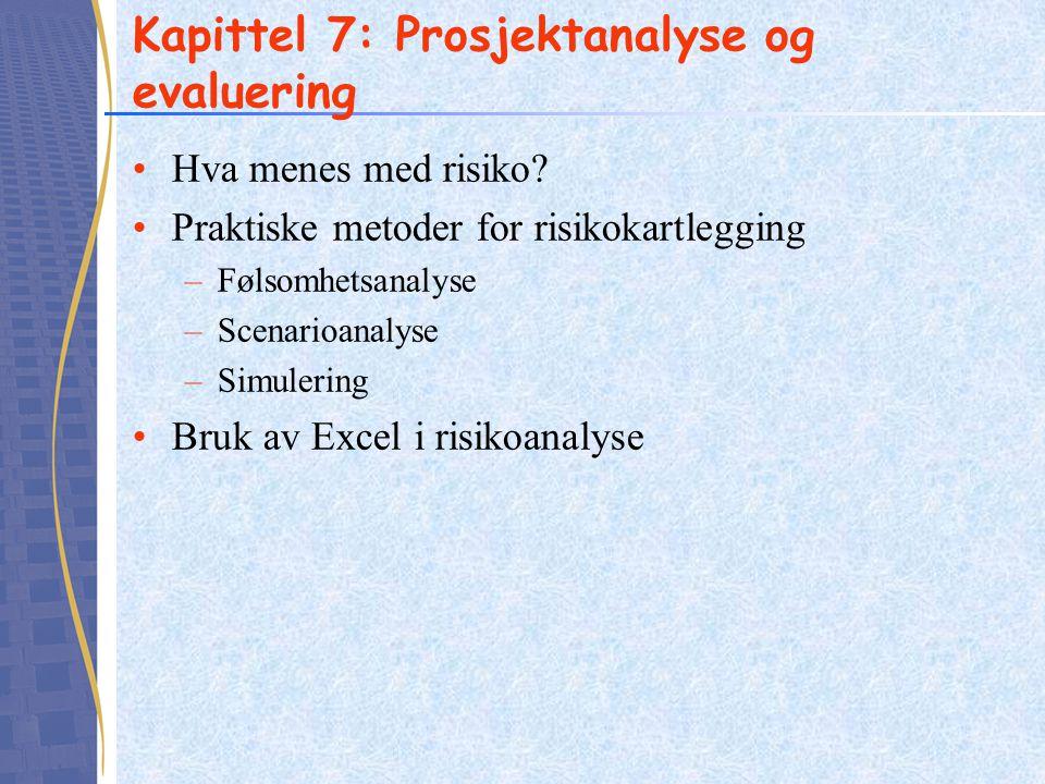 Kapittel 7: Prosjektanalyse og evaluering Hva menes med risiko? Praktiske metoder for risikokartlegging –Følsomhetsanalyse –Scenarioanalyse –Simulerin