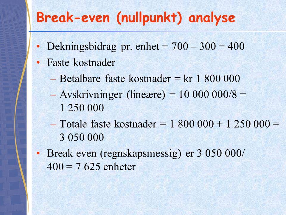 Break-even (nullpunkt) analyse Dekningsbidrag pr. enhet = 700 – 300 = 400 Faste kostnader –Betalbare faste kostnader = kr 1 800 000 –Avskrivninger (li
