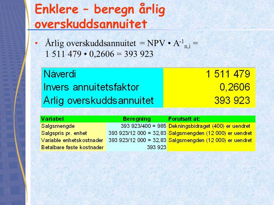 Enklere – beregn årlig overskuddsannuitet Årlig overskuddsannuitet = NPV A -1 n,i = 1 511 479 0,2606 = 393 923