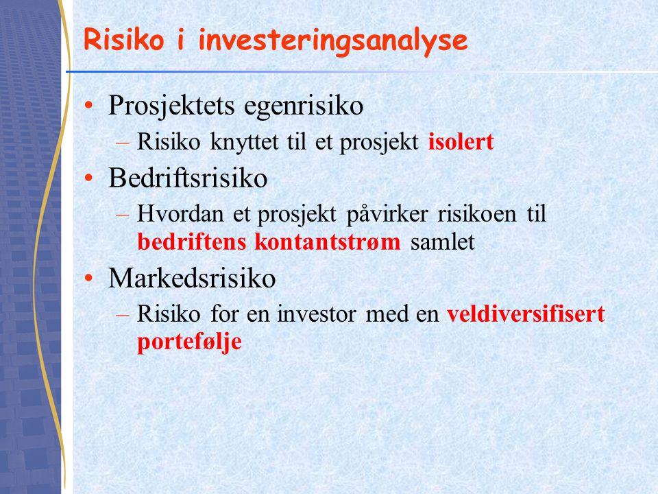 Risiko i investeringsanalyse Prosjektets egenrisiko –Risiko knyttet til et prosjekt isolert Bedriftsrisiko –Hvordan et prosjekt påvirker risikoen til