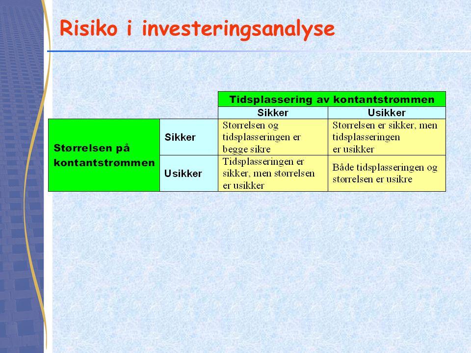Risikoanalyse i praksis Følsomhetsanalyse –Hvor mye kan en kalkylefaktor endres i negativ retning før prosjektet blir ulønnsomt Scenarioanalyse –Endre flere kalkylefaktorer samtidig Simulering –Endre kalkylefaktorer i tråd med en sannsynlighetsfordeling