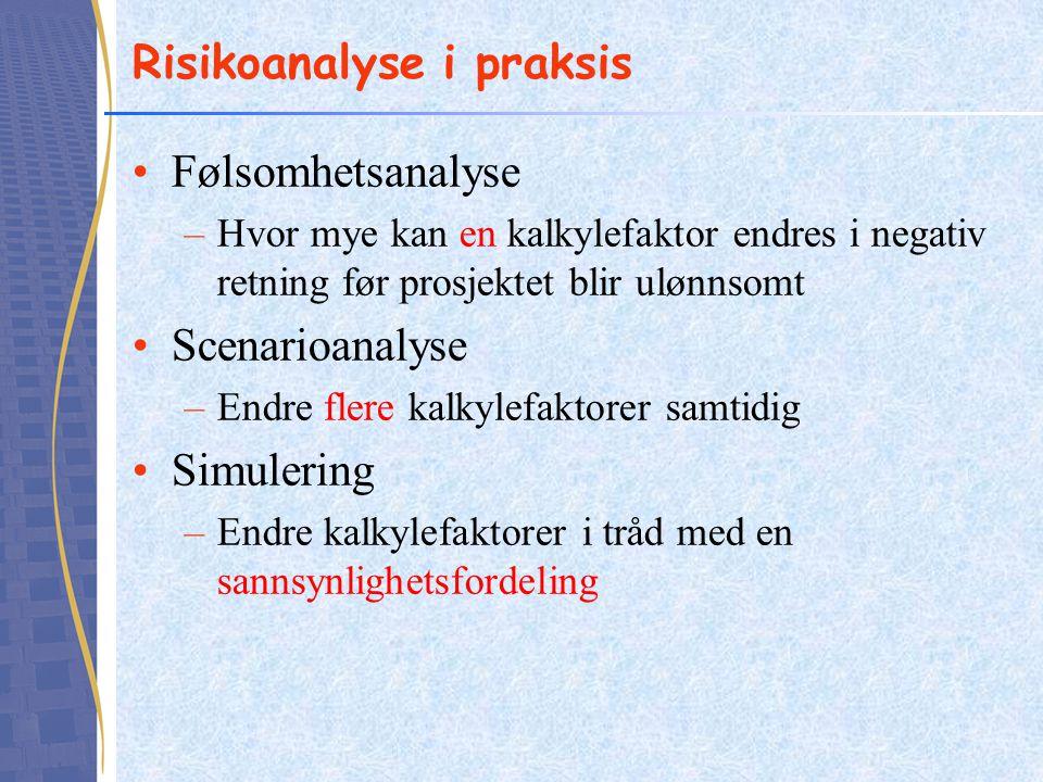 Risikoanalyse i praksis Følsomhetsanalyse –Hvor mye kan en kalkylefaktor endres i negativ retning før prosjektet blir ulønnsomt Scenarioanalyse –Endre