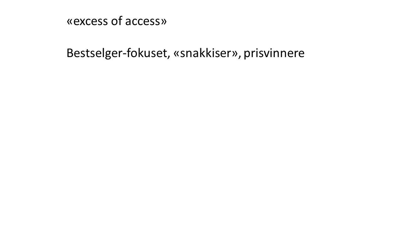 «excess of access» Bestselger-fokuset, «snakkiser», prisvinnere