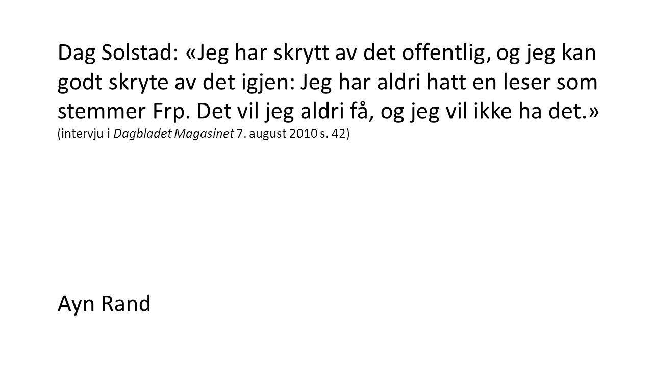 Dag Solstad: «Jeg har skrytt av det offentlig, og jeg kan godt skryte av det igjen: Jeg har aldri hatt en leser som stemmer Frp.