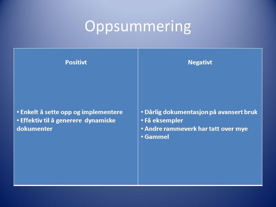 Oppsummering Positivt Enkelt å sette opp og implementere Effektiv til å generere dynamiske dokumenter Negativt Dårlig dokumentasjon på avansert bruk Få eksempler Andre rammeverk har tatt over mye Gammel