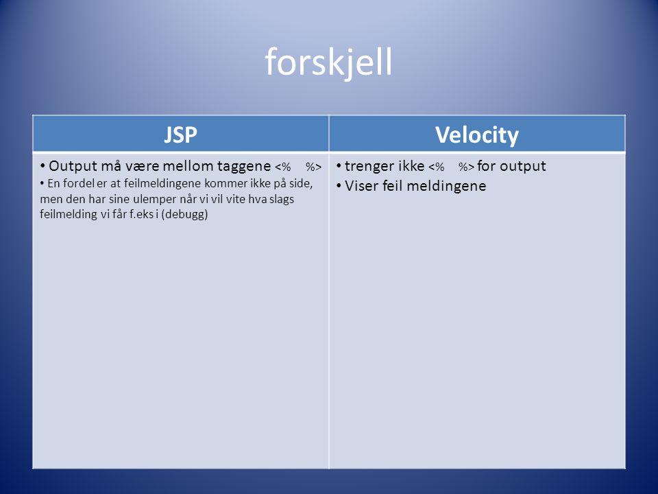 forskjell JSPVelocity Output må være mellom taggene En fordel er at feilmeldingene kommer ikke på side, men den har sine ulemper når vi vil vite hva slags feilmelding vi får f.eks i (debugg) trenger ikke for output Viser feil meldingene