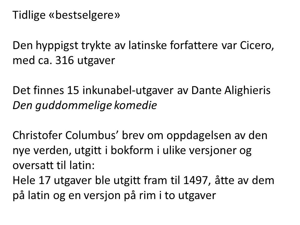 Tidlige « bestselgere » Den hyppigst trykte av latinske forfattere var Cicero, med ca. 316 utgaver Det finnes 15 inkunabel-utgaver av Dante Alighieris