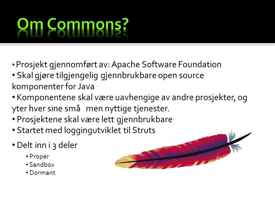 Prosjekt gjennomført av: Apache Software Foundation Skal gjøre tilgjengelig gjennbrukbare open source komponenter for Java Komponentene skal være uavhengige av andre prosjekter, og yter hver sine små men nyttige tjenester.