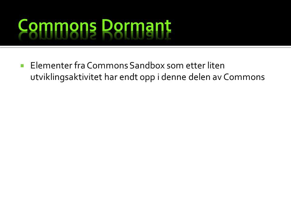  Elementer fra Commons Sandbox som etter liten utviklingsaktivitet har endt opp i denne delen av Commons
