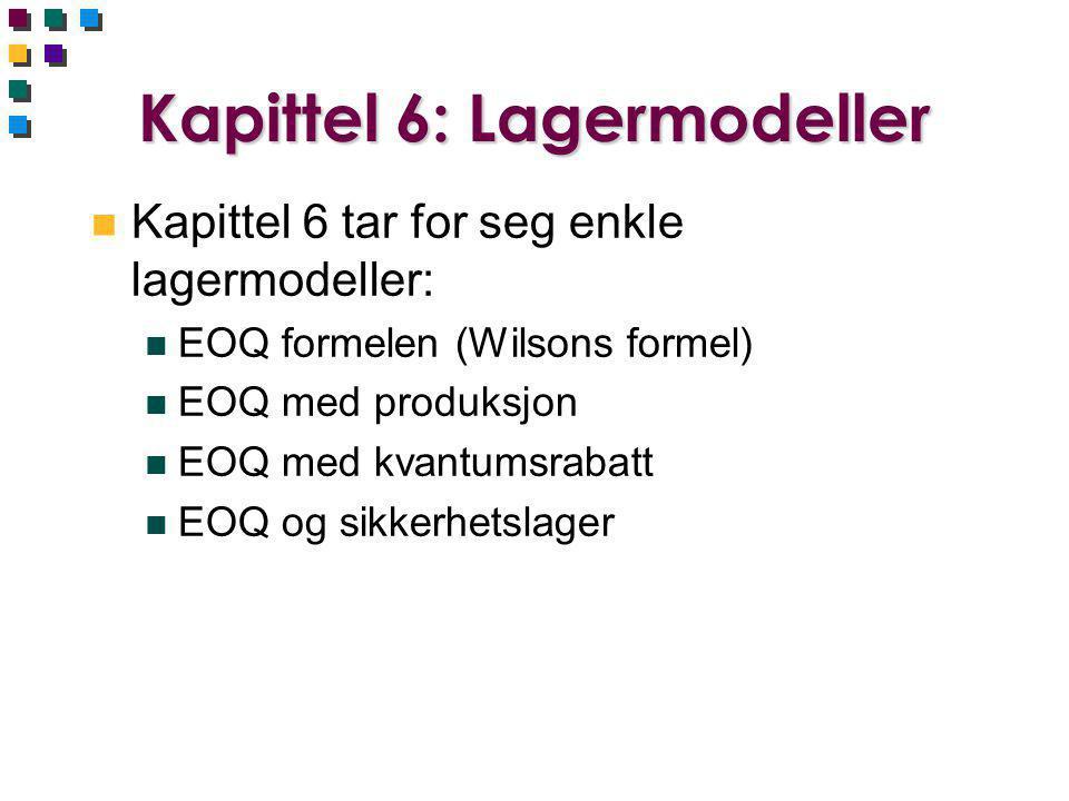 Kapittel 6: Lagermodeller n Kapittel 6 tar for seg enkle lagermodeller: n EOQ formelen (Wilsons formel) n EOQ med produksjon n EOQ med kvantumsrabatt n EOQ og sikkerhetslager
