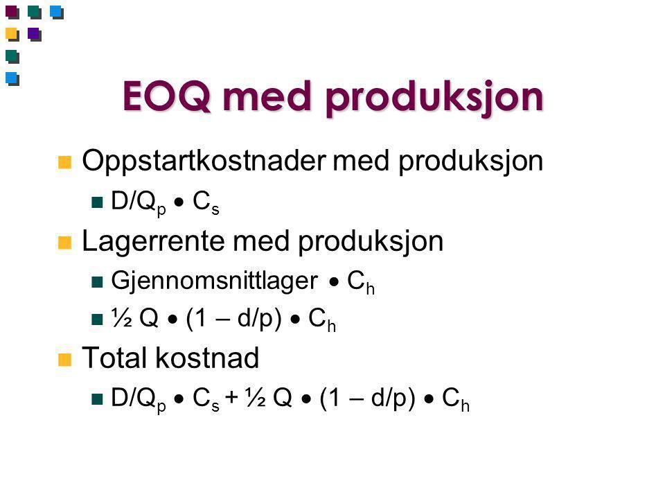 EOQ med produksjon n Oppstartkostnader med produksjon n D/Q p  C s n Lagerrente med produksjon n Gjennomsnittlager  C h n ½ Q  (1 – d/p)  C h n Total kostnad n D/Q p  C s + ½ Q  (1 – d/p)  C h
