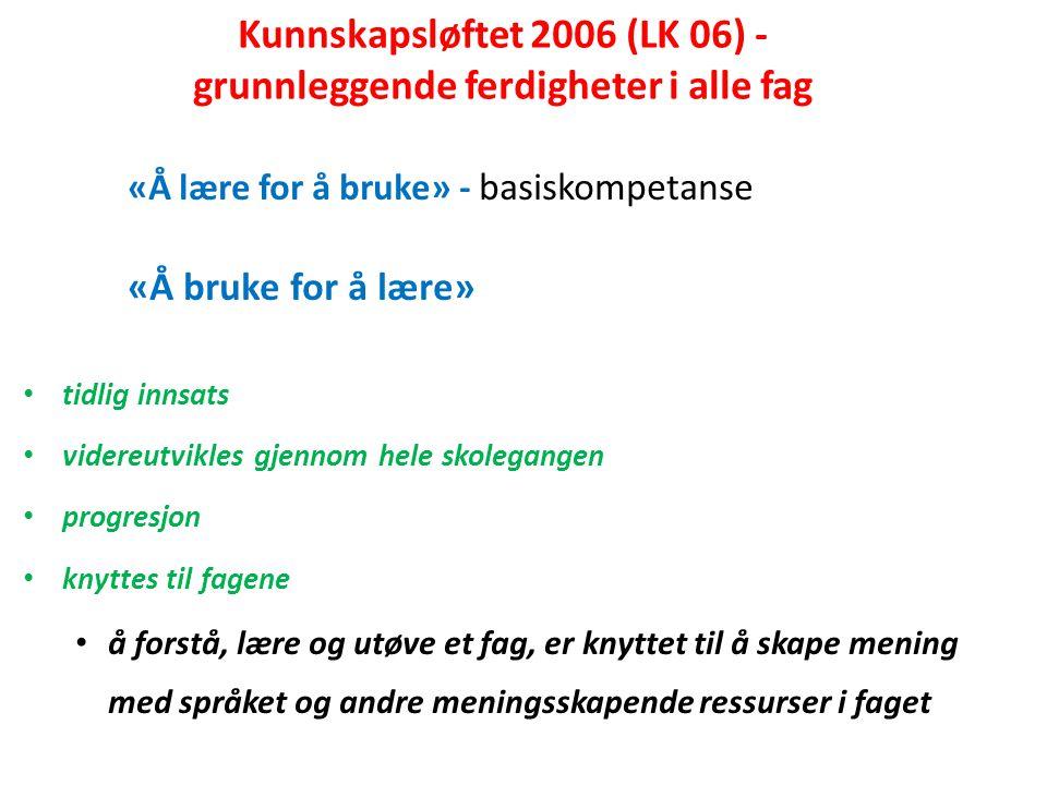 Grunnleggende norsk for språklige minoriteter (LK 06) Kartleggingsmateriell fra Udir (2007) beskriver norsk som andrespråk på tre nivåer: Nivå 1: Elementært nivå elevene behersker norsk i mange sosiale sammenhenger.