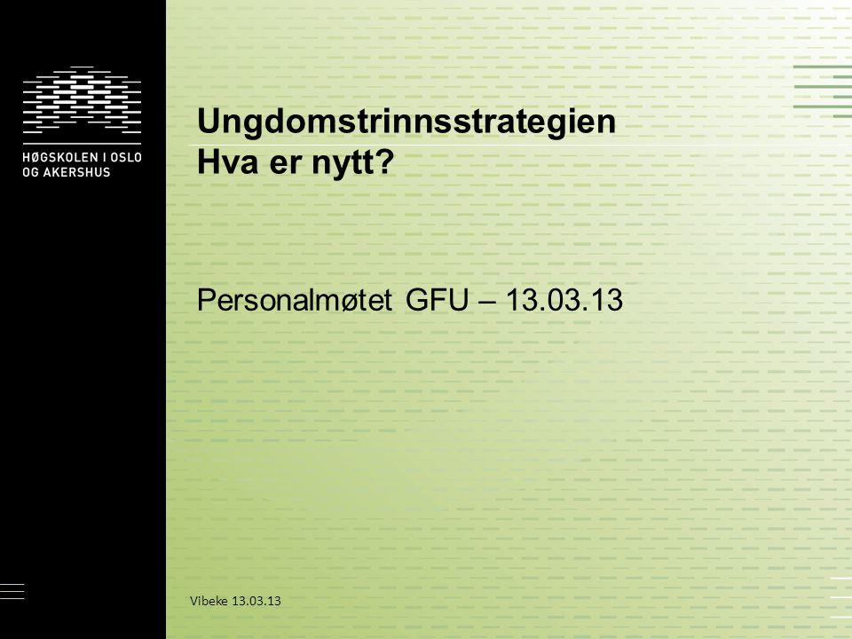 Ungdomstrinnsstrategien Hva er nytt? Personalmøtet GFU – 13.03.13 Vibeke 13.03.13
