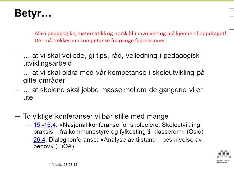 Betyr… — … at vi skal veilede, gi tips, råd, veiledning i pedagogisk utviklingsarbeid — … at vi skal bidra med vår kompetanse i skoleutvikling på gitte områder — … at skolene skal jobbe masse mellom de gangene vi er ute — To viktige konferanser vi bør stille med mange — 15.-16.4: «Nasjonal konferanse for skoleeiere: Skoleutvikling i praksis – fra kommunestyre og fylkesting til klasserom» (Oslo) 15.-16.4 — 26.4: Dialogkonferanse: «Analyse av tilstand – beskrivelse av behov» (HiOA) 26.4 Vibeke 13.03.13 Alle i pedagogikk, matematikk og norsk blir involvert og må kjenne til oppdraget.